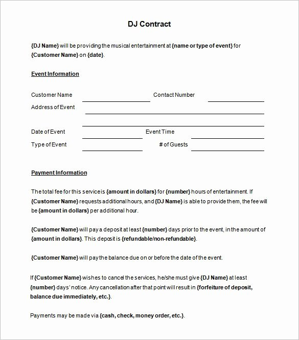 Disc Jockey Contracts Template Awesome 6 Dj Contract Templates – Free Word Pdf Documents Download Free & Premium Templates