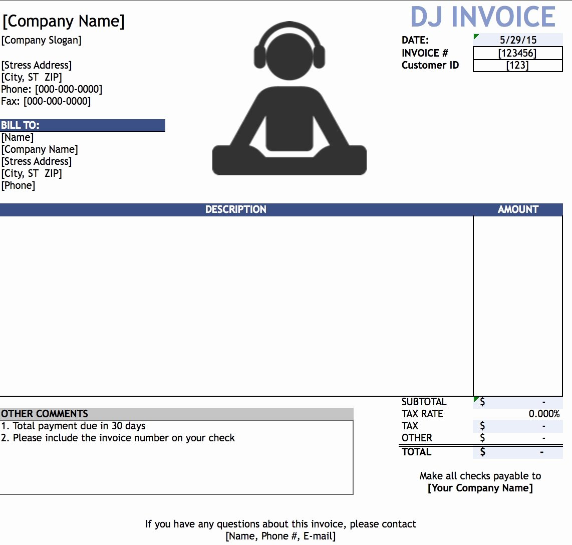 Disc Jockey Contracts Template Beautiful Dj Invoices Templates