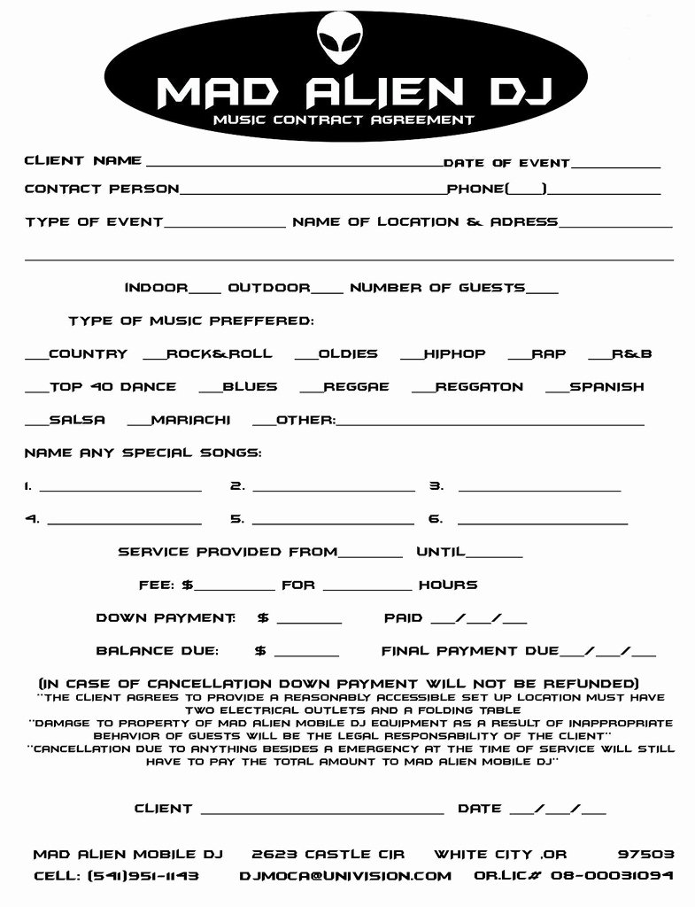 Disc Jockey Contracts Template New 11 Dj Contract Examples Pdf Word Apple Pages Google Docs