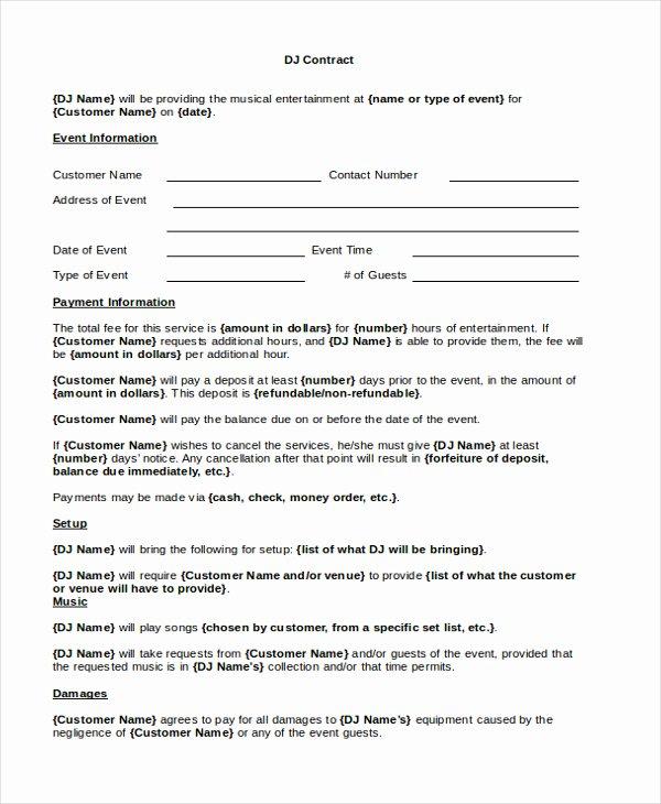 Disc Jockey Contracts Template New Disc Jockey Contracts Template
