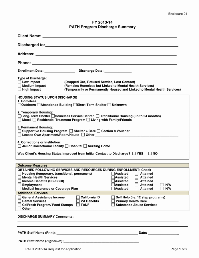 Discharge Summary Sample Mental Health Beautiful Path Discharge Summary Template In Word and Pdf formats
