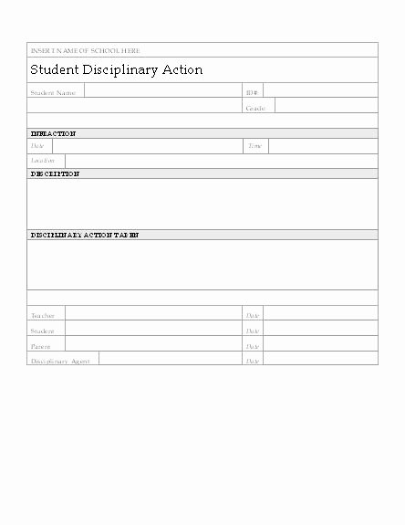 Disciplinary Action form Word Document Unique Student Disciplinary Action form My Board