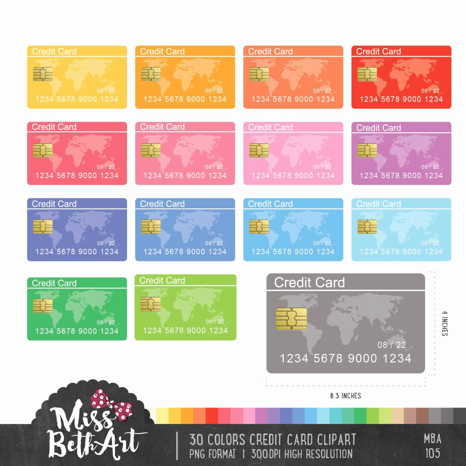 Discover Credit Card Designs Inspirational 30 Colors Credit Card Clipart Instant Download From Missbethart On Etsy Studio