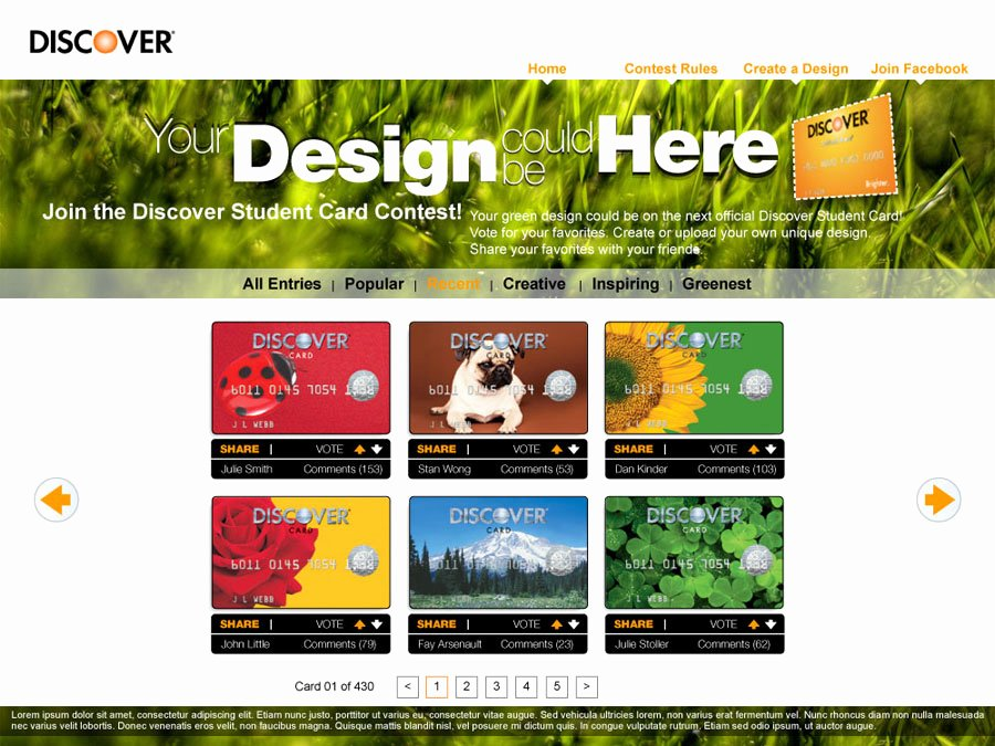 Discover It Card Designs Unique Discover Card Contest 418qe