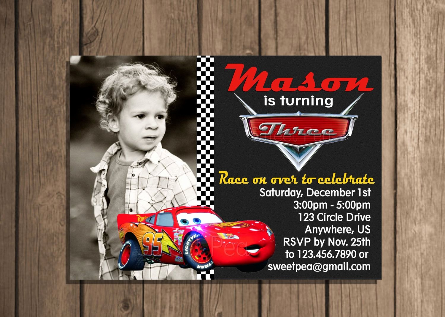 Disney Birthday Invitations Cards Beautiful Disney Cars Lightning Mcqueen Any Age Birthday Invitation or Thank You Card Digital File