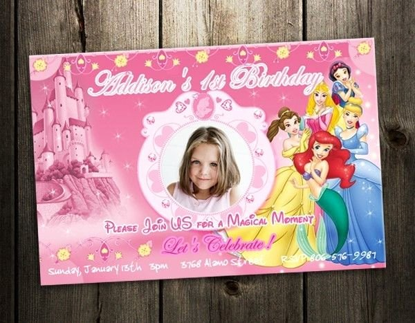 Disney Birthday Invitations Cards Best Of Disney Princess Birthday Party Invitation Custom Invites First 1st Photo Baby