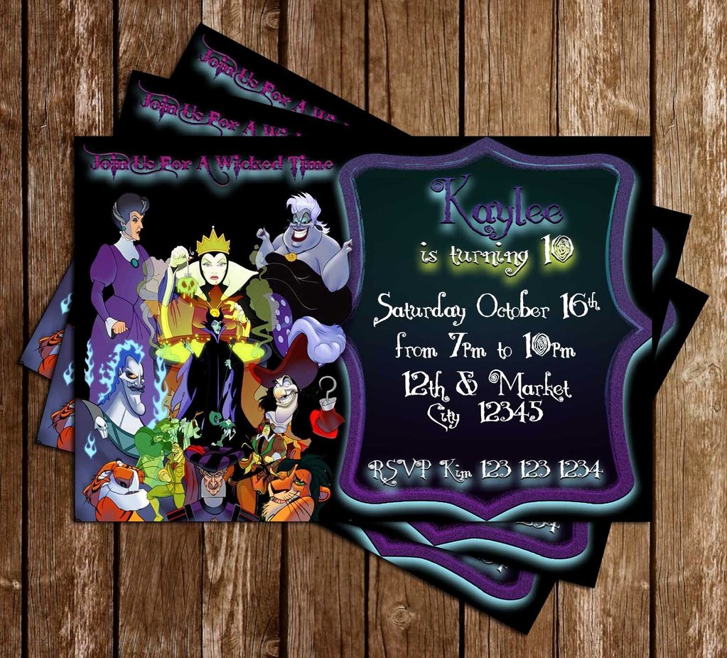 Disney Birthday Invitations Cards Best Of Novel Concept Designs Disney Villains Purple Birthday Party Invitation