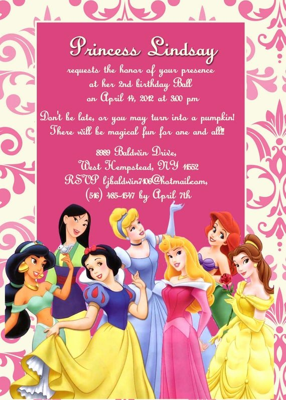 Disney Birthday Invitations Cards Elegant Custom Photo Invitations Disney Princess Birthday Invitation