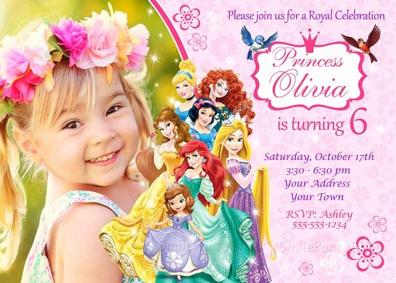 Disney Birthday Invitations Cards Elegant Disney Princess Invitation Princess Birthday Invitation Personalized Digital File