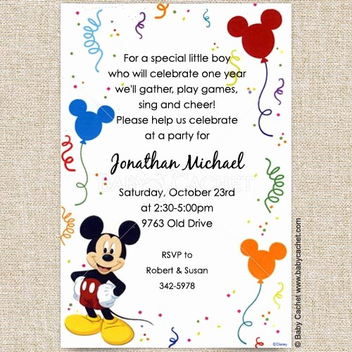 Disney Birthday Invitations Cards Inspirational Disney Mickey Mouse Baby Birthday Invitations