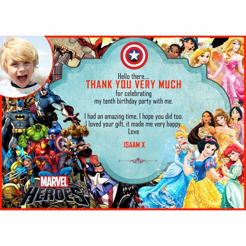 Disney Birthday Invitations Cards Lovely Personalised Boys Birthday Party Invitations Disney Princess Super Hero 8 Cards