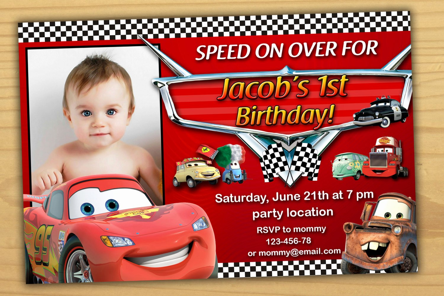 Disney Birthday Invitations Cards Luxury Disney Cars Birthday Invitation Disney Cars Invitation Cars