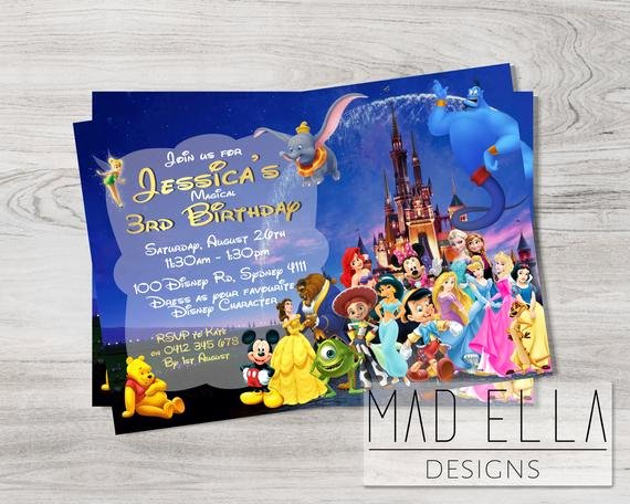 Disney Birthday Invitations Cards Luxury Disney Characters Invitation Disney Birthday Disney Party