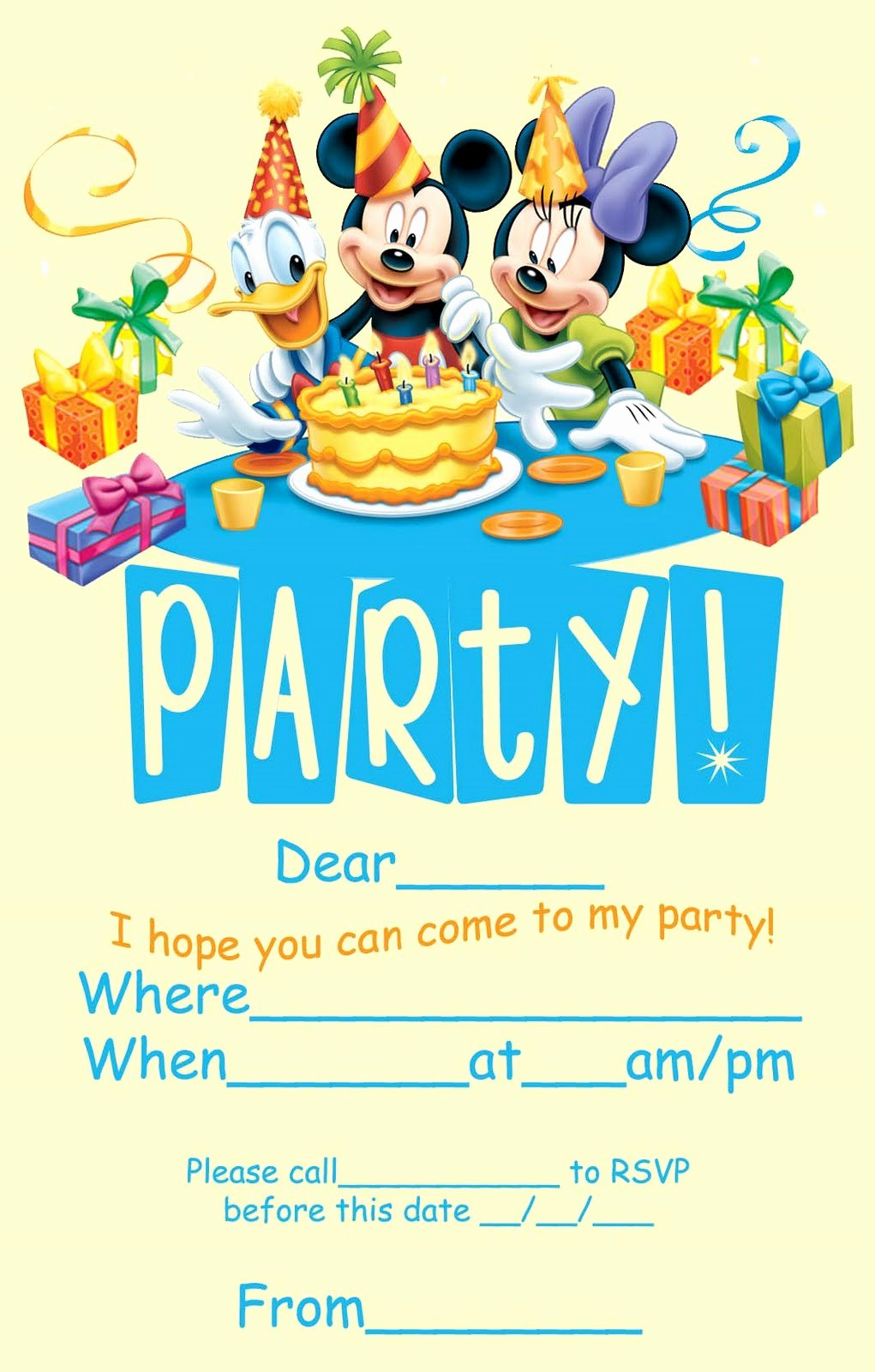 Disney Birthday Invitations Cards New Disney Coloring Pages