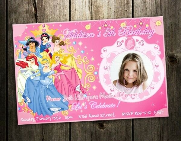 Disney Birthday Invitations Cards New Disney Princess Birthday Party Invitation Photo Card Custom Invites Baby Shower