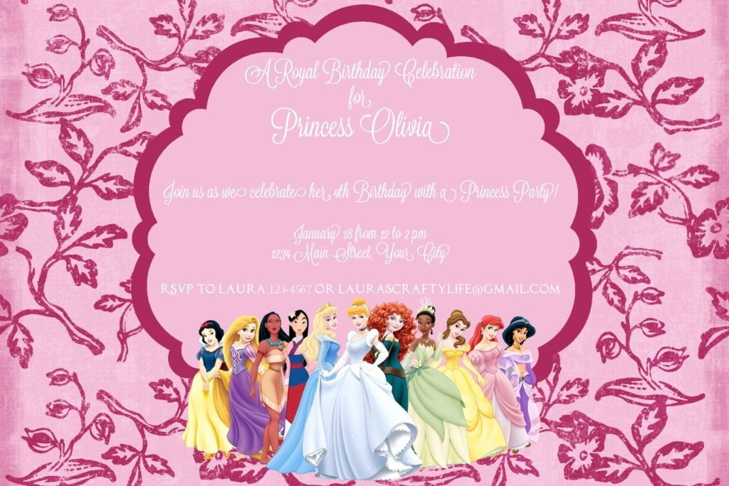 Disney Birthday Invitations Cards New Disney Princess Party Invitation Laura S Crafty Life