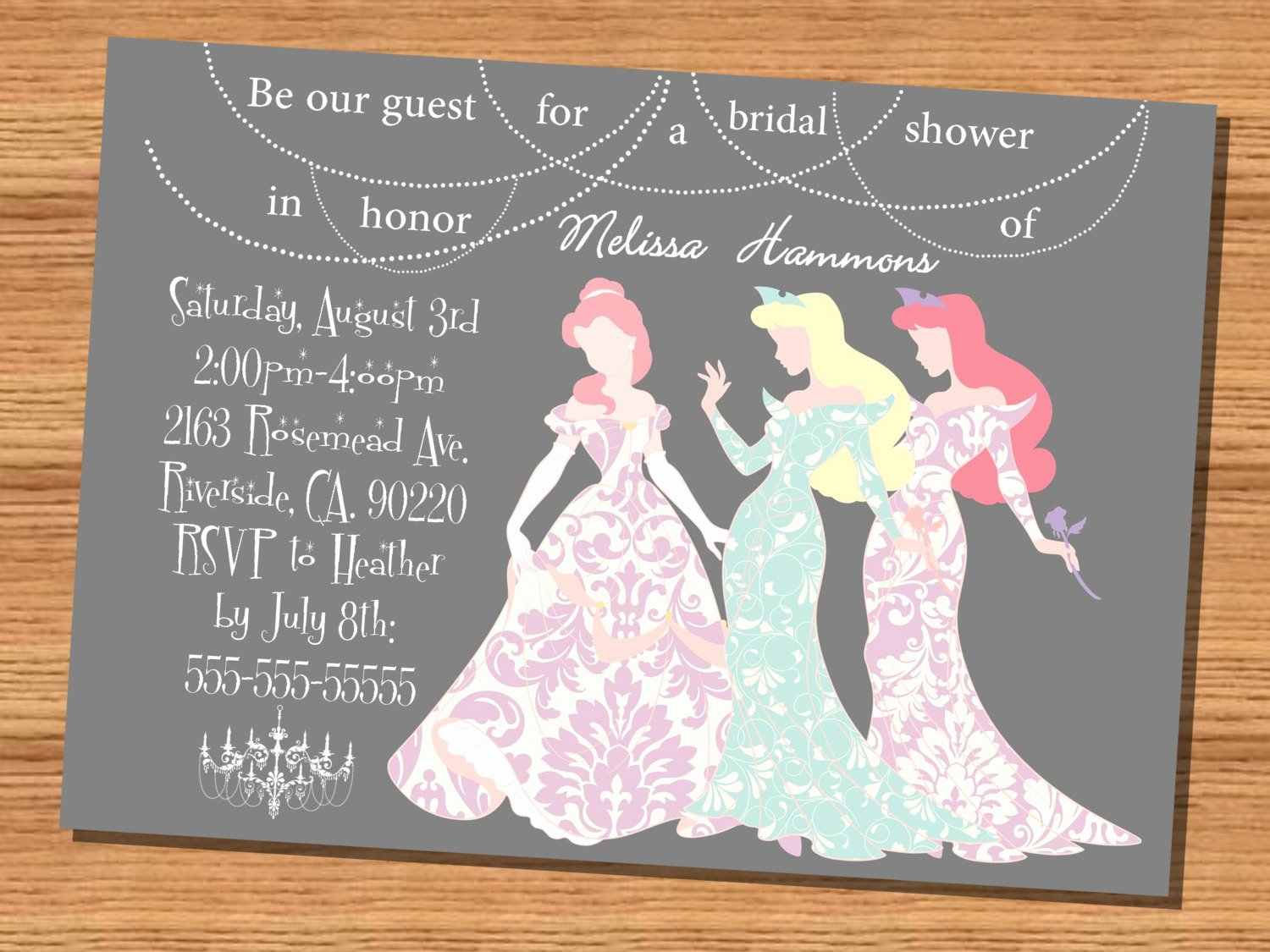 Disney Bridal Shower Invitations Awesome Princess Wedding Shower Invitation Disney Princesses