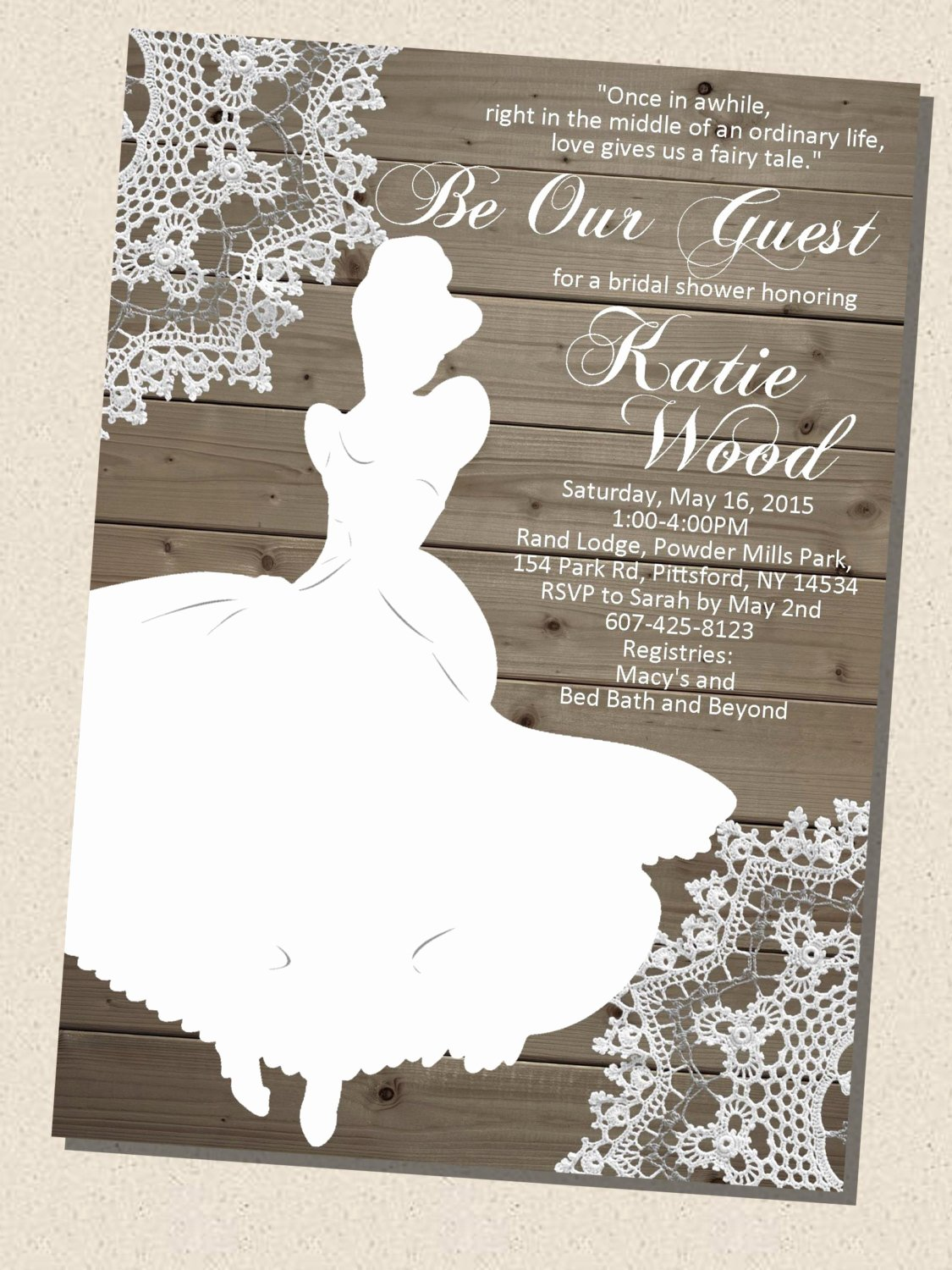 Disney Bridal Shower Invitations Awesome Rustic Wooden Vintage Disney Princess Cinderella