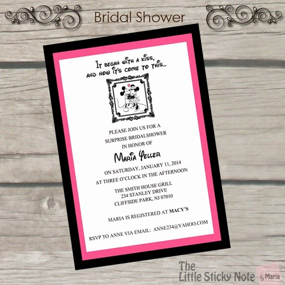 Disney Bridal Shower Invitations Beautiful Items Similar to Disney themed Bridal Shower Invitations On Etsy