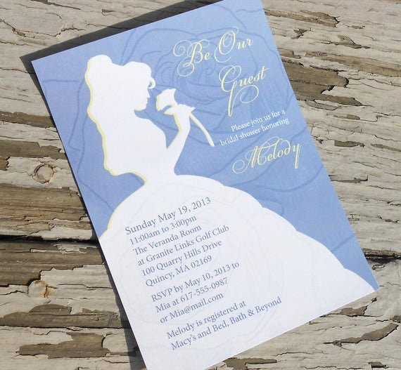 Disney Bridal Shower Invitations Best Of Disney Beauty and the Beast Belle Bridal Shower Invitation