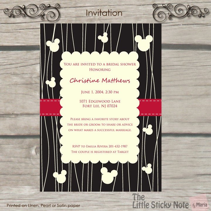 Disney Bridal Shower Invitations Elegant Disney themed Bridal Shower Invitations by thelittlestickynote