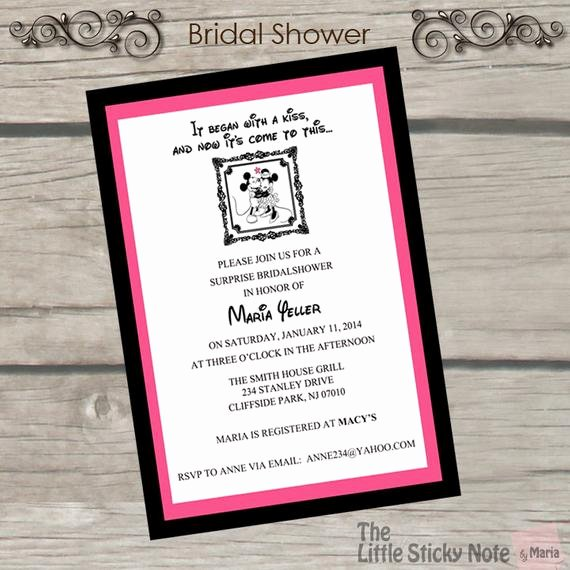 Disney Bridal Shower Invitations Elegant Disney themed Bridal Shower Invitations
