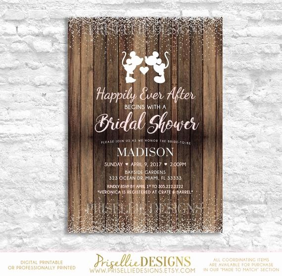 Disney Bridal Shower Invitations Inspirational Rustic Disney Bridal Shower Disney Bridal Shower Invitation