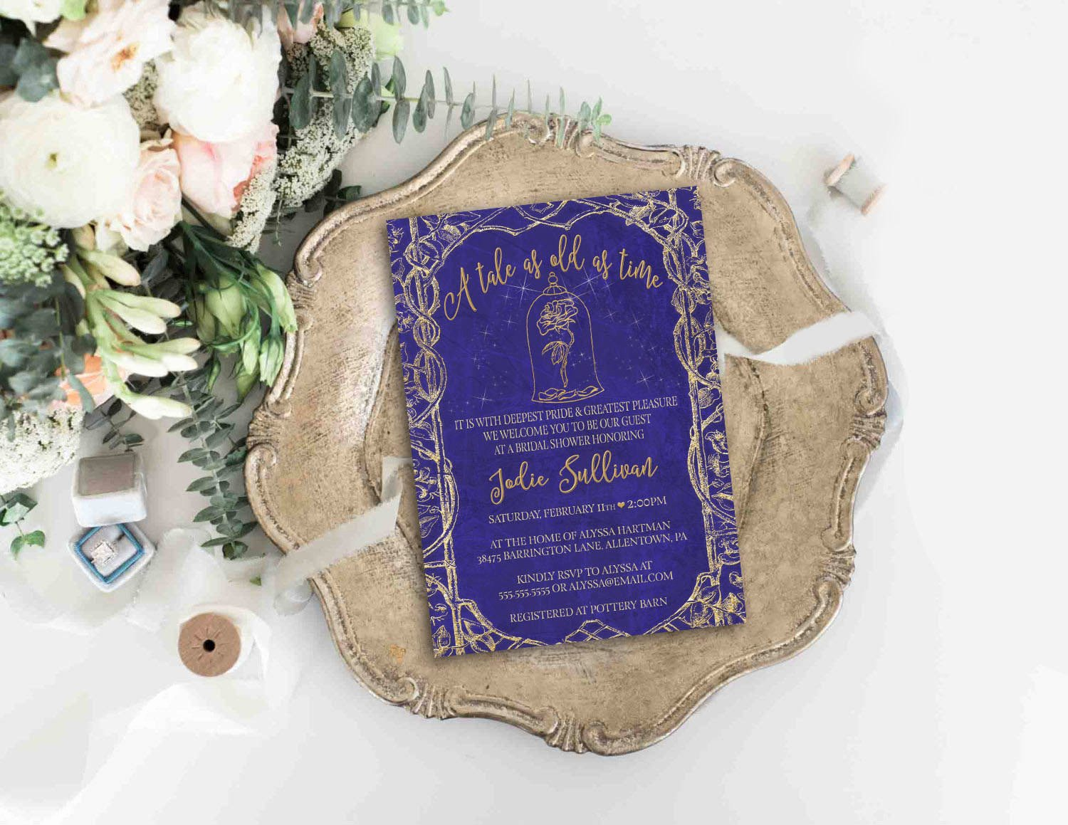 Disney Bridal Shower Invitations Lovely Beauty and the Beast Invitation Disney Wedding Bridal Shower