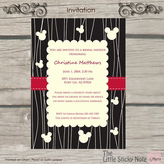 Disney Bridal Shower Invitations Lovely Disney Printed and Bridal Shower On Pinterest