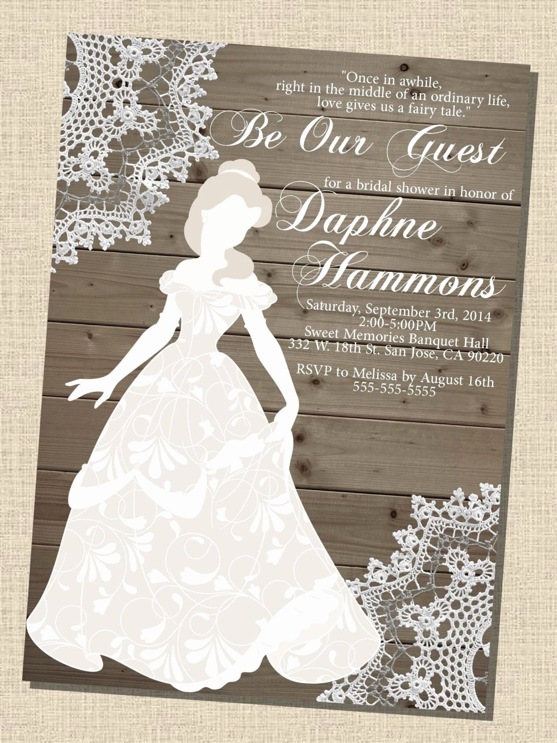 Disney Bridal Shower Invitations Lovely Rustic Wooden Vintage Disney Princess Belle Silhouette Bridal Shower Invitation 5x7