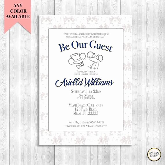 Disney Bridal Shower Invitations New Be Our Guest Bridal Shower Invitation Disney by Priselliedesigns