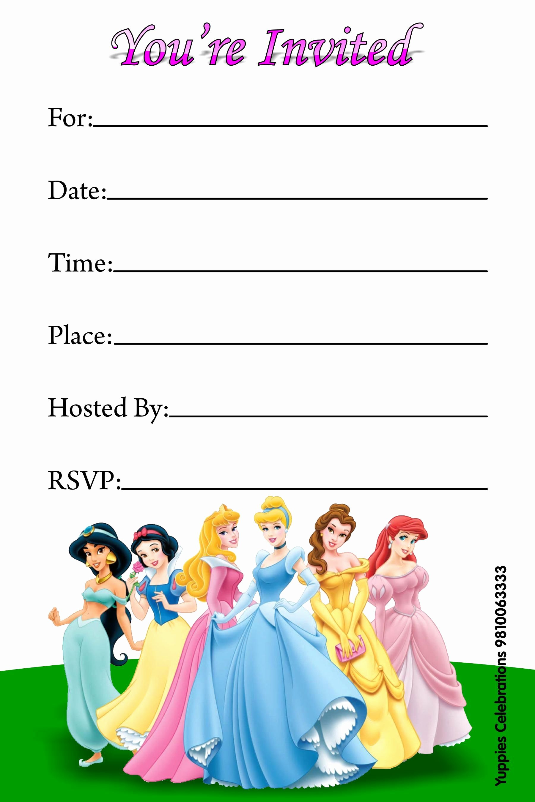 Disney Princess Invitation Template Best Of Disney Princess Invitations Free Printable Invitations