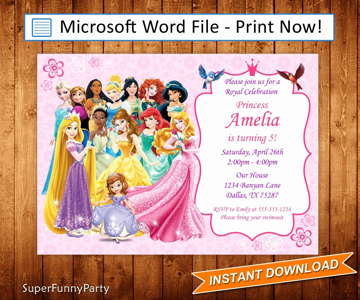 Disney Princess Invitation Template Elegant Disney Princess Invitation Disney Princess Birthday Invite