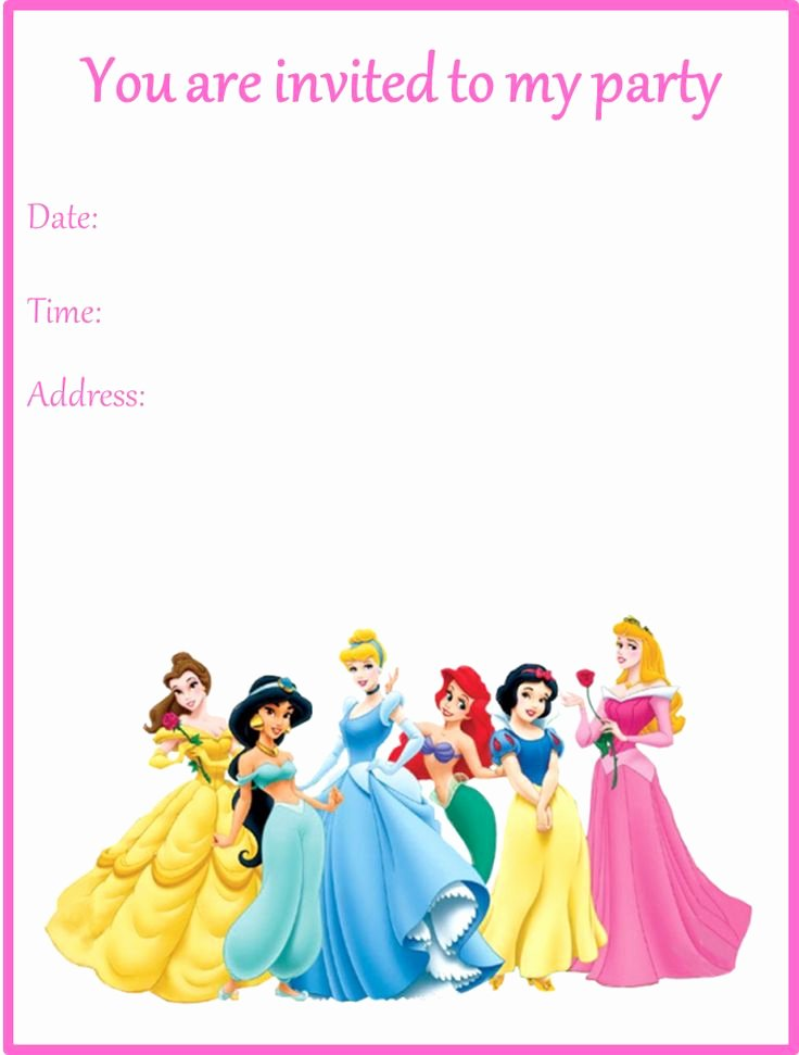 Disney Princess Invitation Template Fresh Disney Princesses Birthday Party Invitation