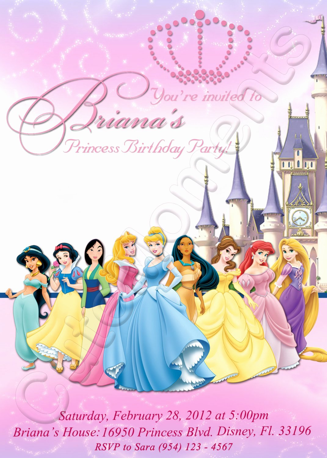 Disney Princess Invitation Template Fresh Personalized Princess Birthday Invitations