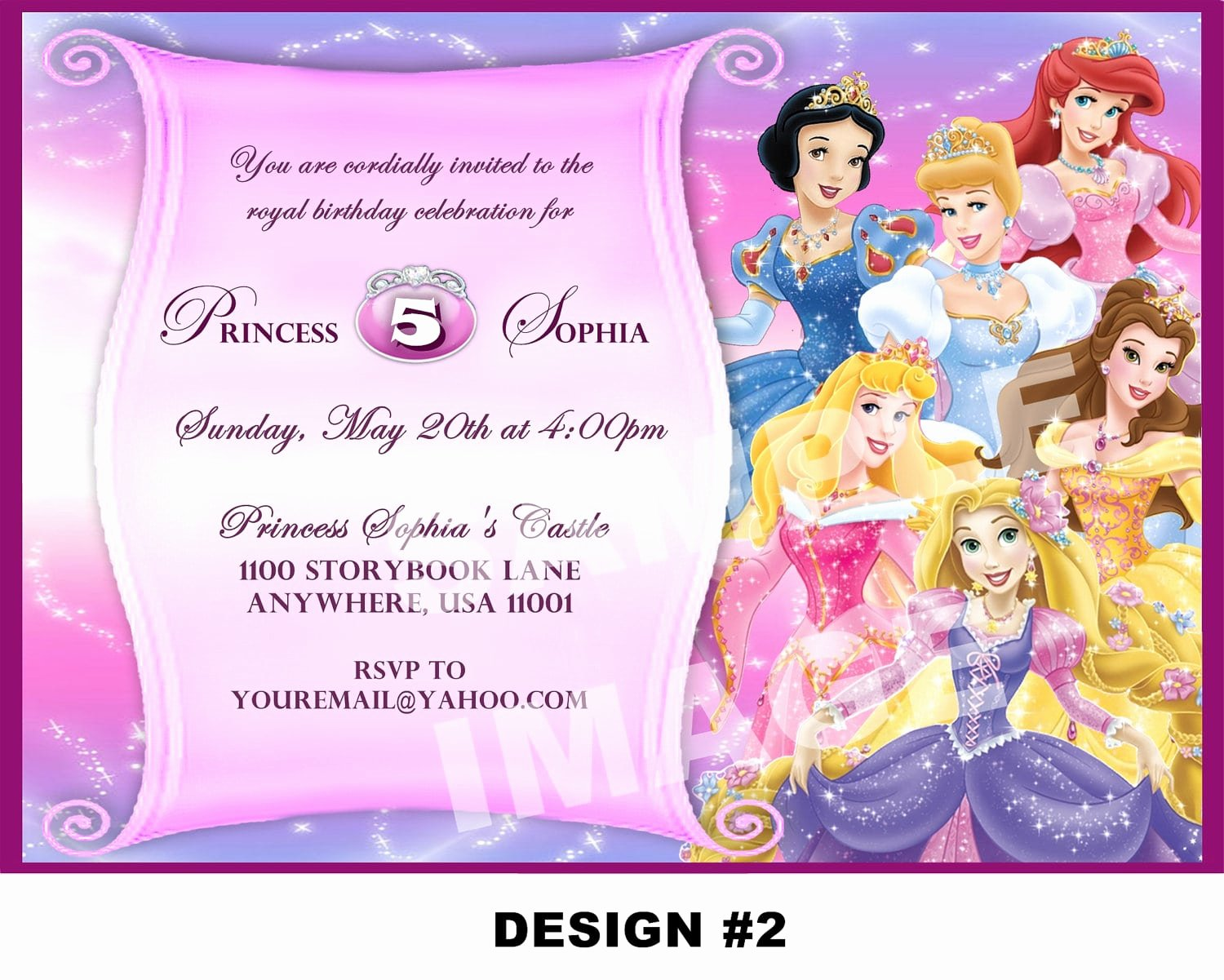 Disney Princess Invitation Template Unique Disney Princess Invitation Card for Birthday Template Free