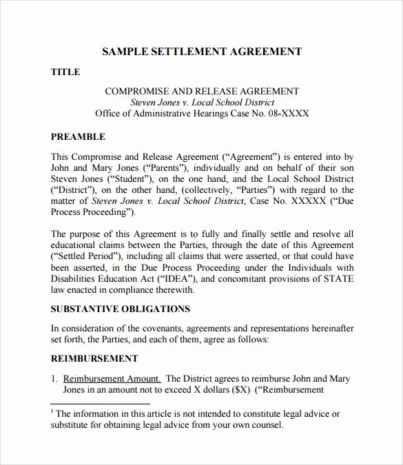 Divorce Settlement Agreement Pdf Awesome Divorce Settlement Agreement Template