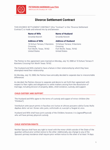 Divorce Settlement Agreement Pdf Awesome Divorce Settlement Contract Template Pdf Templates