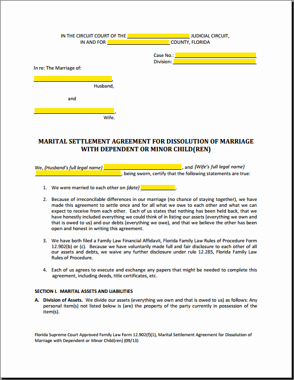 Divorce Settlement Agreement Pdf Beautiful form 12 902f1 Marital Settlement Agreement Divorce with Children Explained