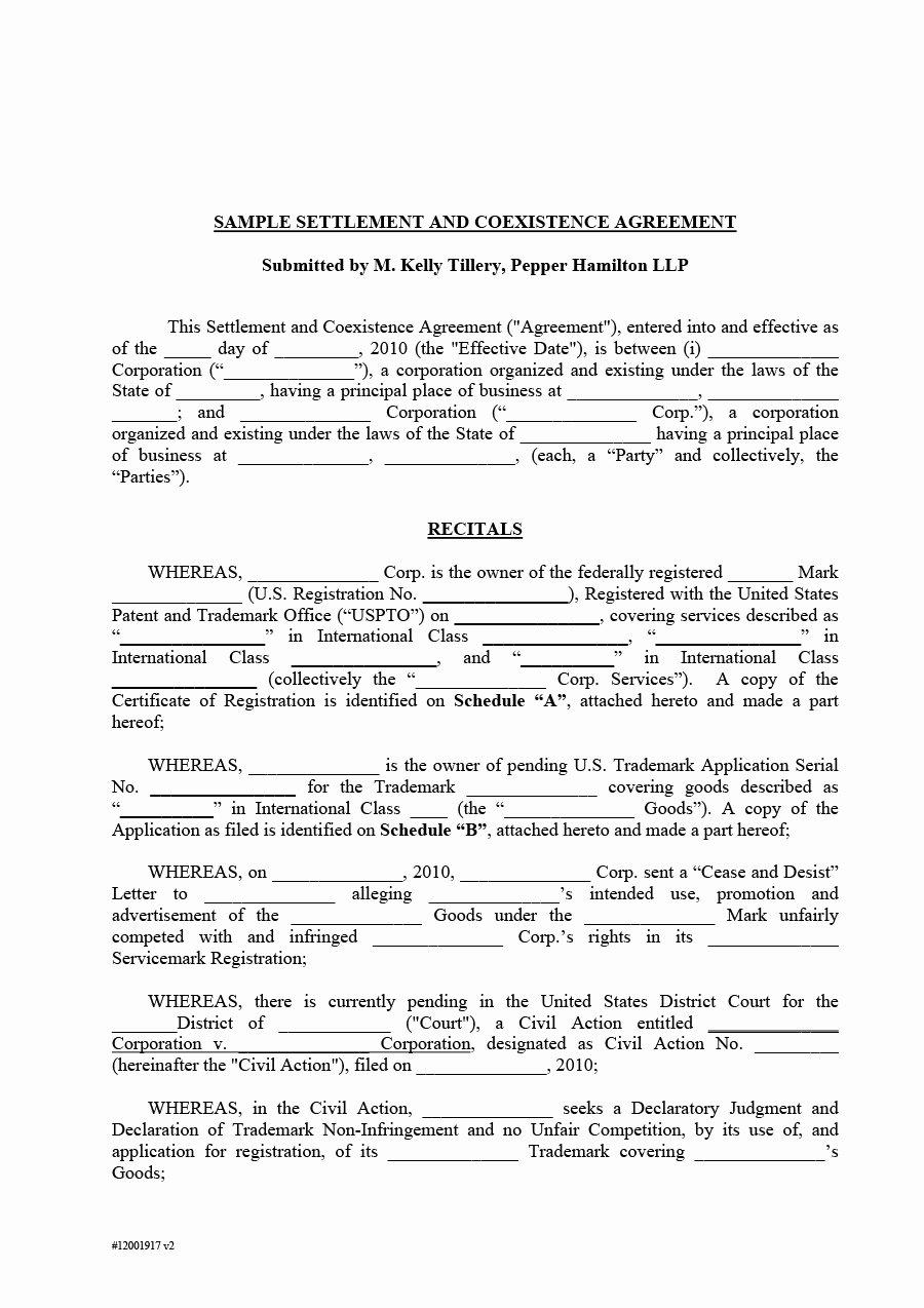 Divorce Settlement Agreement Pdf Best Of 43 Free Settlement Agreement Templates [divorce Debt Employment ]