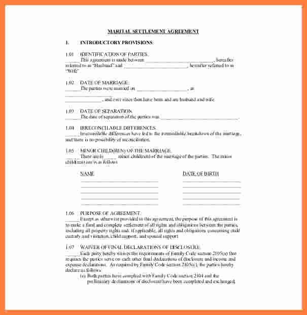 9 divorce settlement agreement template