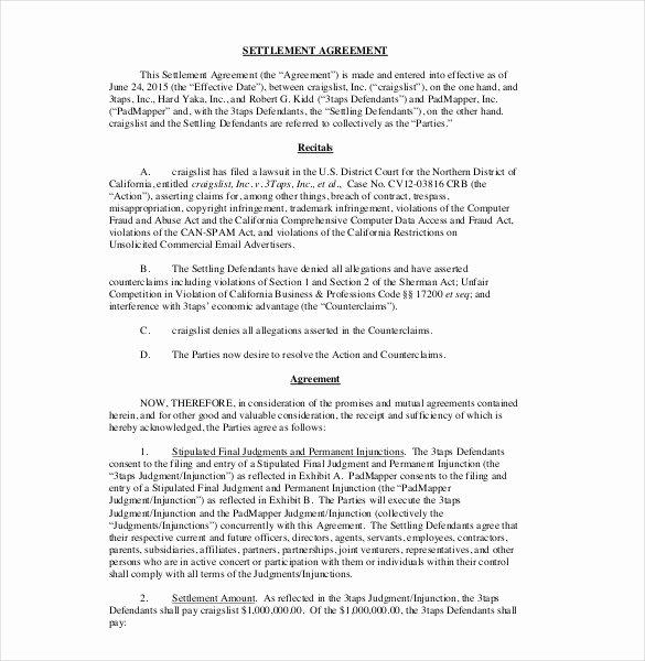 Divorce Settlement Agreement Pdf Fresh Settlement Agreement format