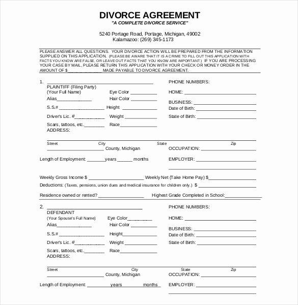 Divorce Settlement Agreement Pdf Inspirational 12 Divorce Agreement Templates Pdf Doc