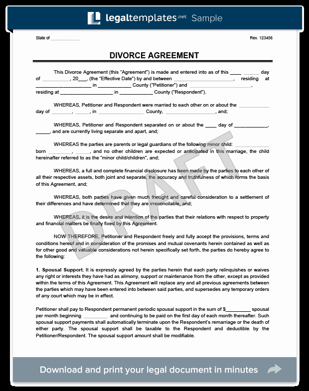 Divorce Settlement Agreement Pdf Lovely Divorce Agreement Template