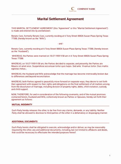 Divorce Settlement Agreement Pdf Unique Agreement Templates Pdf Templates