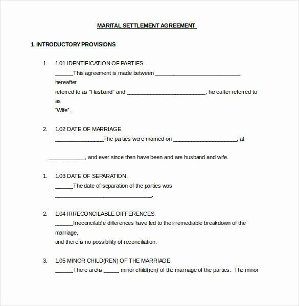 Divorce Settlement Agreement Pdf Unique Divorce Settlement Agreement Pdf