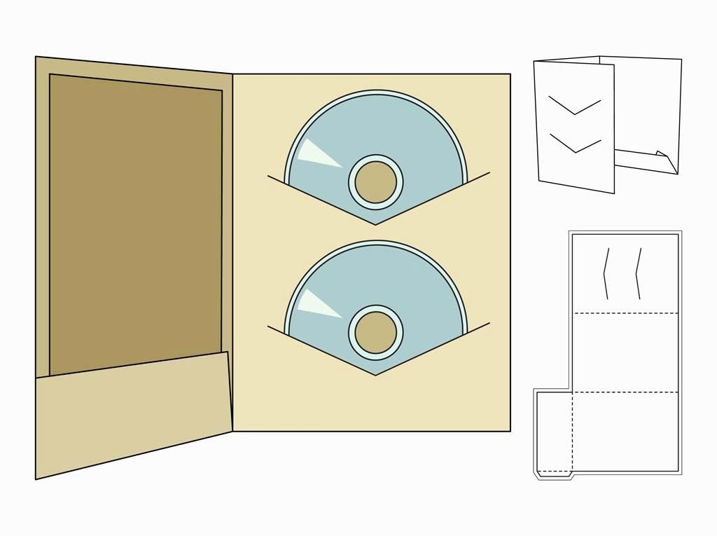 Diy Cd Sleeve Template Awesome Paper Craft Vector Footage Of A Printable Cd Case Template Fold Out with Guides for Gluing