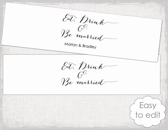 """Diy Water Bottle Label Template Awesome Items Similar to Printable Water Bottle Label Template Diy """"bombshell"""" Modern Calligraphy"""