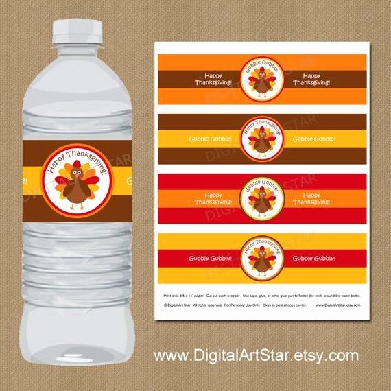 Diy Water Bottle Label Template Beautiful Thanksgiving Water Bottle Labels Diy Printable by Digitalartstar