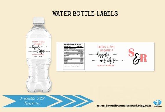Diy Water Bottle Label Template Fresh Diy Wedding Water Bottle Label Template Editable Water Bottle